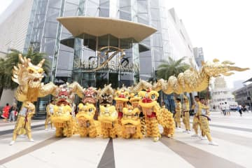 A lion and dragon parade. Siam Paragon