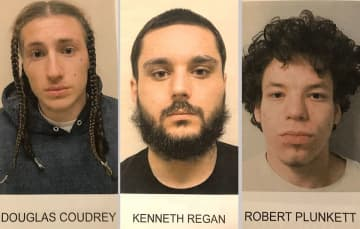 Douglas Coudrey (from left), Kenneth Regan and Robert Plunkett face charges in the Route 80 shooting Saturday that left a driver dead and passenger wounded, authorities said. (Bergen County Prosecuo/)