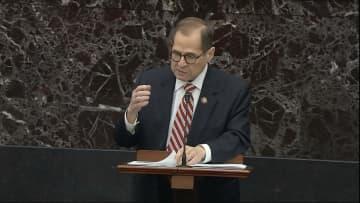 ウクライナ疑惑を巡る米上院の弾劾裁判で冒頭陳述を行うナドラー下院司法委員長=23日、ワシントン(上院提供、AP=共同)