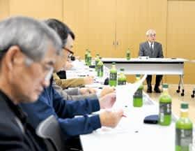 菊谷市長が講話した市連合自治会協議会役員等との懇談会