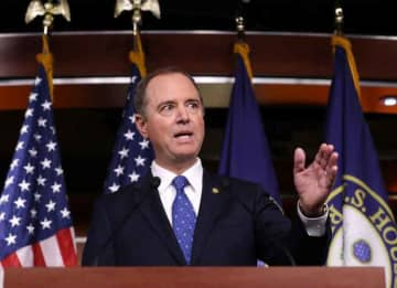 WASHINGTON, DC - DECEMBER 03: House Intelligence Committee Chairman Adam Schiff (D-CA) holds a news conference shortly after the release of the committee's Trump-Ukraine Impeachment Inquiry Report at the U.S. Capitol December 03, 2019 in...