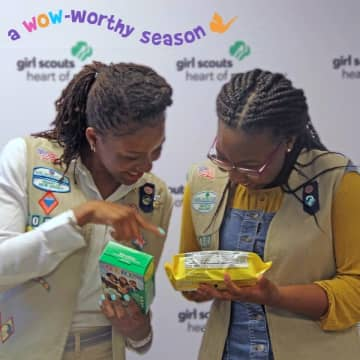 Christel Burrell (left) with another Montclair Girl Scout will be on the Thin Mints box. (Christel Burrell /)