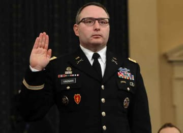 WASHINGTON, DC - NOVEMBER 19: National Security Council Director for European Affairs Lt. Col. Alexander Vindman is sworn in to testify before the House Intelligence Committee in the Longworth House Office Building on Capitol Hill November 19,...