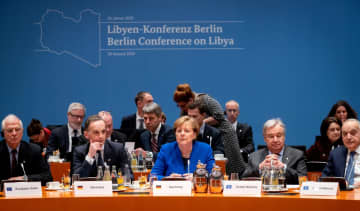 European Union's Foreign Policy Chief Josep Borrell, German Foreign Minister Heiko Maas, German Chancellor Angela Merkel, United Nations Secretary-General Antonio Guterres and U.N. Envoy for Libya, Ghassan Salame attend the Libya summit in Berlin.