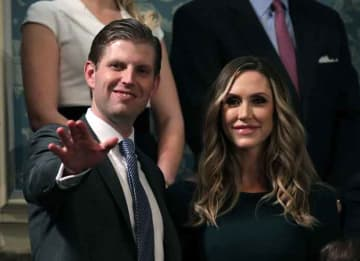 WASHINGTON, DC - JANUARY 30: Eric Trump and Lara Trump attend the State of the Union address in the chamber of the U.S. House of Representatives January 30, 2018 in Washington, DC. This is the first State of the Union address given by U.S....