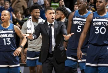 In a December 30, 2019, file image, Minnesota Timberwolves head coach Ryan Saunders disputes a call in action against the Brooklyn Nets at the Target Center in Minneapolis. - Carlos Gonzalez/Minneapolis Star Tribune/TNS