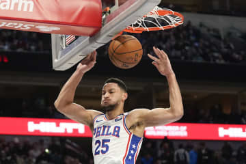 The Philadelphia 76ers' Ben Simmons follows through on a dunk against the Dallas Mavericks at American Airlines Center on January 11, 2020, in Dallas. - Smiley N. Pool/Dallas Morning News/TNS