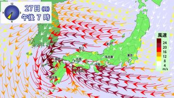 27日(月)午後7時の風の予想