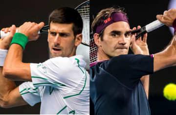「全豪オープン」でのジョコビッチ(左)とフェデラー(右)
