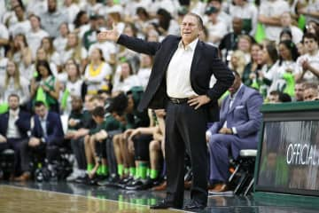 Michigan State coach Tom Izzo reacts after foul in the first half of their Big Ten basketball game against Wisconsin at the Breslin Center in East Lansing, on Jan. 17, 2020. - Mike Mulholland/mlive.com/TNS