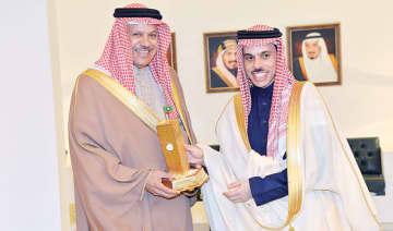 Saudi Foreign Minister Prince Faisal bin Farhan meets Gulf Cooperation Council (GCC) Secretary-General Dr. Abdullatif bin Rashid Al-Zayani. (SPA)