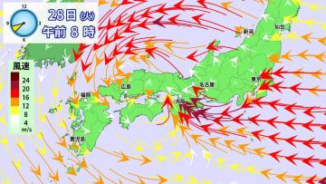 28日(火)午前8時の風の予想