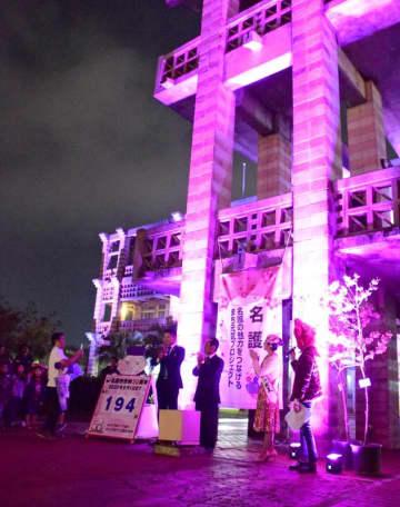 桜色にライトアップされた庁舎=20日、名護市役所