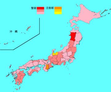 インフルエンザ患者の報告数は11県で増加、36都道府県で減少した(マップは国立感染症研究所のホームページから抜粋)