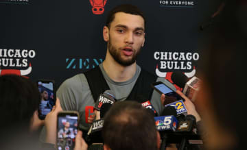 Bulls guard Zach LaVine speaks about the life and death of basketball legend Kobe Bryant following the team's shootaround at the Advocate Center on Monday, Jan, 27, 2020. - Antonio Perez/Chicago Tribune/TNS