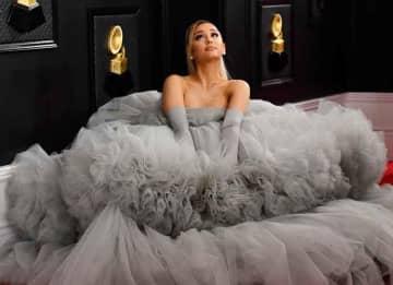 Ariana Grande Wears 20-Foot Wide Grey Giambattista Valli Gown To The Grammys!