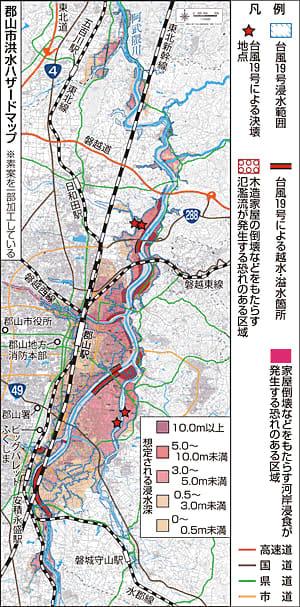 郡山市「洪水ハザードマップ」素案作成 台風の浸水区域加える