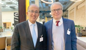 Frederic Sanchez, president of MEDEF international and chairman of Fives Group's executive board, right, with Francios Touazi, vice president of MEDEF. (Photo/Supplied)