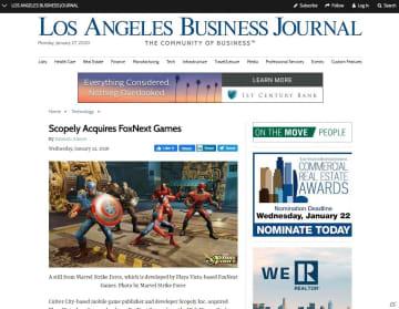 米モバイルゲーム会社のScopely、ザ・ウォルト・ディズニー・カンパニーからFoxNext Gamesを買収