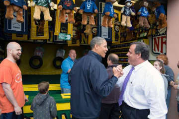 Then-President Barack Obama and then-Gov. Chris Christie are pictured in Seaside Heights in 2013. (File Photo/)