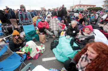 "People wait in line to enter the Wildwoods Convention Center for President Donald Trump's ""Keep America Great Rally"" in Wildwood, Tuesday, Jan. 28, 2020.  (Tim Hawk 