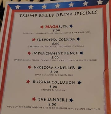 The drink menu at the Bolero Resort in Wildwood features a MAGA-rita and other cocktails playing to the crowd at President Donald Trump's rally on Jan. 28. (Chris Franklin/)