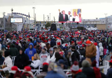 "People wait in line to enter the Wildwoods Convention Center for President Donald Trump's ""Keep America Great Rally"" in Wildwood, Tuesday, Jan. 28, 2020. Tim Hawk 