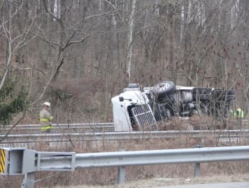 A tractor-trailer rolled over and landed on its side on Jan. 28, 2020, on Interstate 80 East in Knowlton Township. (Bob Halberstadt | lehighvalleylive.com contributor/)