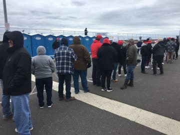 Long lines and dicey conditions inside awaited Trump rally crowds inside portable toilets. (Bill Duhart | For NJ.com/)
