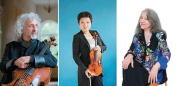 (右)音楽祭総監督のマルタ・アルゲリッチ©Rikimaru Hotta、(中)アジアを代表するバイオリニスト、チョン・キョンファ©Simon Fowler、(左)世界屈指のチェリスト、ミッシャ・マイスキー©Hideki Shiozawa