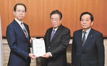 内堀知事に要望書を手渡す立谷市長(中央)。右は大堀町長