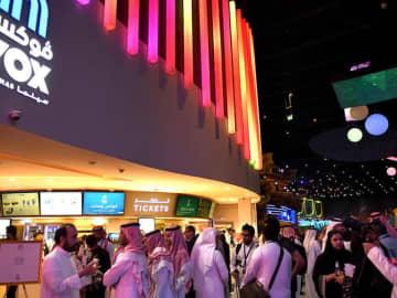 Saudi cinema-goers at a VOX movie theater in Riyadh Park Mall.