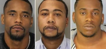 Cornelius Bell, 29, Jalmed Marks, 28 and Aaron Gyampo, 27, all of Trenton. (Bucks County District Attorney's Office/)
