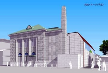 新児島館(仮称)のイメージ図。茶色の屋根の右側部分が新設棟で、2022年4月に開館する