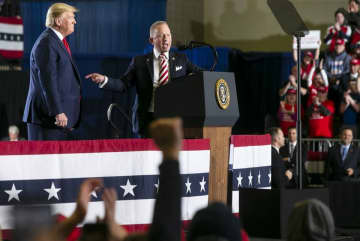 President Donald Trump (left) stands with U.S. Rep. Jeff Van Drew during a rally at the Wildwoods Convention Center on Tuesday night. (Aristide Economopoulos | NJ Adva/)