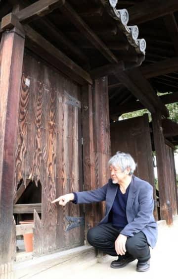 何者かに壊されたとみられる撫川城址の門