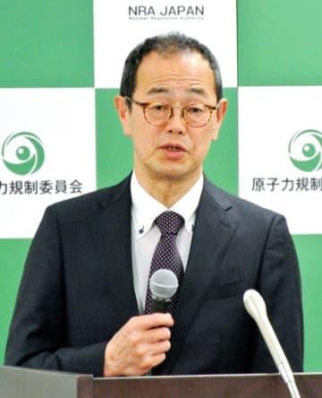 記者会見する原子力規制委員会の更田豊志委員長=29日午後、東京都港区