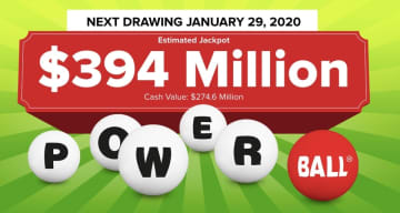 The Powerball lottery drawing for Wednesday, Jan. 29, 2020 is worth an estimated $394 million. Check back later to see if anyone won the Powerball jackpot. (Powerball.com/)