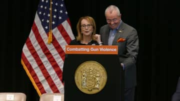 Former Congresswoman Gabby Giffords, who was the victim of gun violence, announced nine N.J. hospitals will get $20 million for hospital-based violence intervention programs. (Michael Mancuso | NJ Advance Media for NJ.com) (Michael Mancuso/)