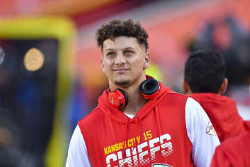 Kansas City Chiefs quarterback Patrick Mahomes, sidelined with a knee injury, is on the field before a game against the Green Bay Packers on October 27, 2019, at Arrowhead Stadium in Kansas City, Mo. - Rich Sugg/Kansas City Star/TNS