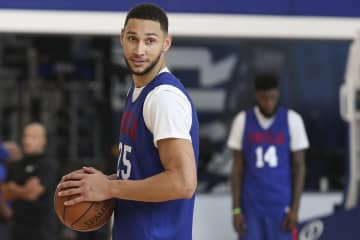 The Philadelphia 76ers' Ben Simmons (25) during a scrimmage at the team's training complex in Camden, N.J., on October 2, 2019. - HEATHER KHALIFA/The Philadelphia Inquirer/TNS