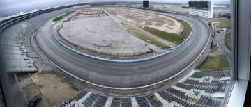 Panoramic view from the Speedway Club shows construction of Turn One Terrace, lower left, at TMS media day at Texas Motor Speedway in Fort Worth, Texas, on Wednesday, Feb. 27, 2019. - Ross Hailey/Fort Worth Star-Telegram/TNS