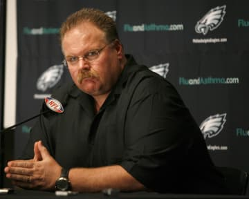Philadelphia Eagles head coach Andy Reid answers questions after announcing a trade of quarterback Donovan McNabb to the Washington Redskins on April 4, 2010, in Philadelphia. - CHARLES FOX/The Philadelphia Inquirer/TNS