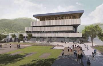和歌山県新宮市が建設を進めている文化複合施設のイメージパース(新宮市教育委員会提供)