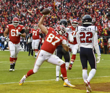 Kansas City Chiefs tight end Travis Kelce spikes the ball after scoring his first touchdown of the second quarter against the Houston Texans Sunday, Jan. 12, 2020, at Arrowhead Stadium in Kansas City, Mo. - Jill Toyoshiba/Kansas City Star/TNS