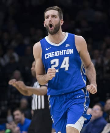 Creighton's Mitch Ballock celebrates in the second half against Villanova at the Wells Fargo Center in Philadelphia on Saturday, Feb. 1, 2020. Creighton won, 76-61. - Mitchell Leff/Getty Images North America/TNS