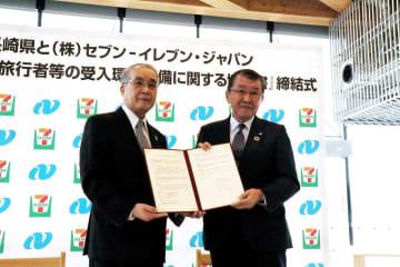 外国人旅行者の受け入れで協定を結んだ中村知事と古屋会長(右)=県庁