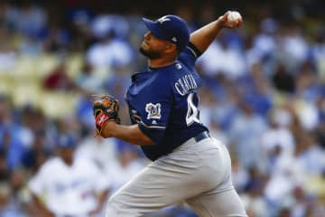 Right-hander Jhoulys Chacin has pitched for seven major league teams, including the Milwaukee Brewers in 2018. - Kent Nishimura/Los Angeles Times/TNS