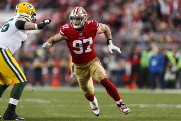 サンフランシスコ・49ersのニック・ボサ【Ryan Kang via AP】