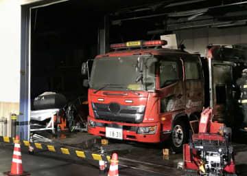大間原発敷地内で焼損した消防車=3日、青森県大間町(電源開発提供)